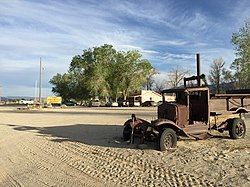 2015-04-29 18 29 47 Old truck and buildings in Dyer, Nevada.jpg