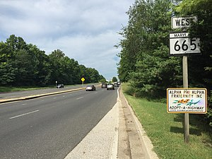 Maryland Route 665 - View west near the east end of MD 665 in Annapolis