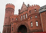 23rd Regiment Armory entrance archway and tower from north.jpg