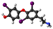 Ball-and-stick model of the 3,3',5-triiodothyronamine molecule
