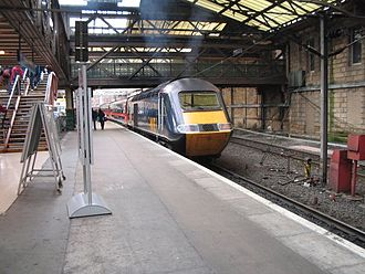 Great North Eastern Railway - Class 43 43116 at Edinburgh Waverley, with a service from Aberdeen to Leeds. These trains were used on routes where the line was not fully electrified, and on the route from London King's Cross to Skipton.