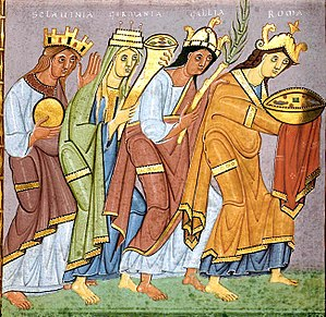 "Kingdom of Germany - Personifications of Sclavinia (""land of the Slavs""), Germania, Gallia, and Roma (Italy), bringing offerings to Otto III; from the Gospels of Otto III."