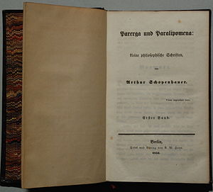 Parerga and Paralipomena - German original edition, 1851