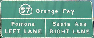 California State Route 57 - Sign on Lambert Road in Brea