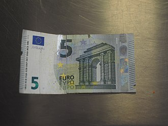 A 5 euro note so badly damaged it has been torn in half. The note has later been repaired with tape. 5 Euro note in bad condition.jpg