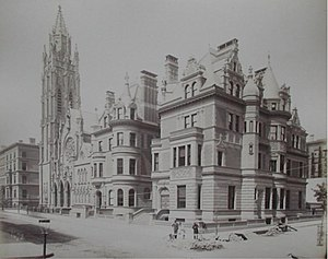 Albert Lévy (photographer) - From L'Architecture Americaine. 1885. 5th Avenue at the 54th Street, New York. Built by William H. Vanderbilt's for his daughter. Architect C.B. Atwood.