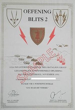 63 Mechanised Battalion Group - 63 Mech Blits 2 exercise certificate, Lohatla Army Battle School 1993
