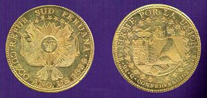 "Republic of South Peru - Golden coins of 8 escudos of the Republic of South Peru. The left is the reverse side with the coat of arms of Peru-Bolivian Confederation and the right is the head side, with the image of Sacsayhuamán, the symbol of 8E (8 Escudos) and the state motto: ""Firme por la Unión""."