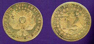 "Peruvian real - Gold 8 escudos from South Peru. Left: Reverse with coat of arms of the Peru-Bolivian Confederation. Right: Obverse with the image of Sacsayhuamán, the denomination 8E and the state motto: ""Firme por la Unión""."