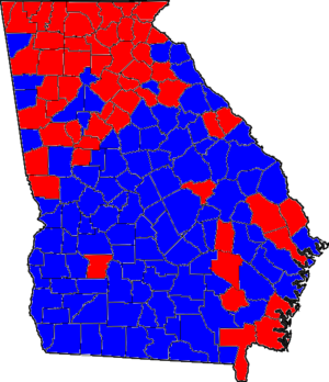 United States Senate election in Georgia, 1996 - Image: 96GASenate Counties
