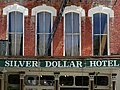 A351, Virginia City, Nevada, USA, Silver Dollar Hotel, upper facade, 2011.JPG