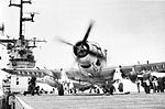 AD-5 Skyraider of VF(AW)-4 Det.51 on USS Leyte (CVS-32) in 1957.jpg
