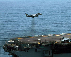 AV-8B landing on USS Iwo Jima (LHD-7) in the Arabian Gulf 2006.JPEG