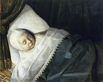 Mourning portraits - A Child of the Honigh Family on its Deathbed, by an unknown painter, 1675-1700
