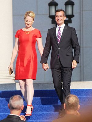 Eric Garcetti - Garcetti and his wife, Amy Elaine Wakeland, on June 30, 2013.