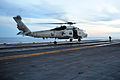 A U.S. Navy MH-60 Seahawk helicopter assigned to Helicopter Maritime Strike Squadron (HSM) 78 lands on the flight deck of the aircraft carrier USS Ronald Reagan (CVN 76) in the Pacific Ocean Nov. 9, 2013 131109-N-EC099-231.jpg
