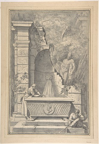 Johannes Antiquus - Image: A Woman at a Fountain by a Ruined Temple, the Farnese Hercules in the Background MET DP800083