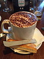A cup of cappuccino at Burleigh Heads Hotel.JPG