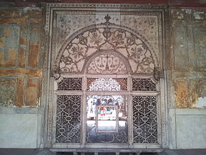 Khas Mahal (Red Fort) - Image: A gate at the red fort complex depicting a balance, the symbol of the famous Mughal justice