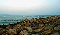 A view of Beach rocks at Bheemunipatnam.JPG