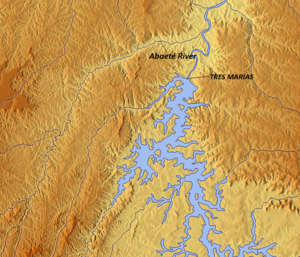 Abaeté River - Map showing the Abaeté River and the São Francisco River and Lake Tres Marias