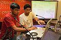 Abhyudaya Chatterjee with Sukanta Pal - Editing Session - Wikilearnopedia - Oxford Bookstore - Kolkata 2015-08-23 3546.JPG