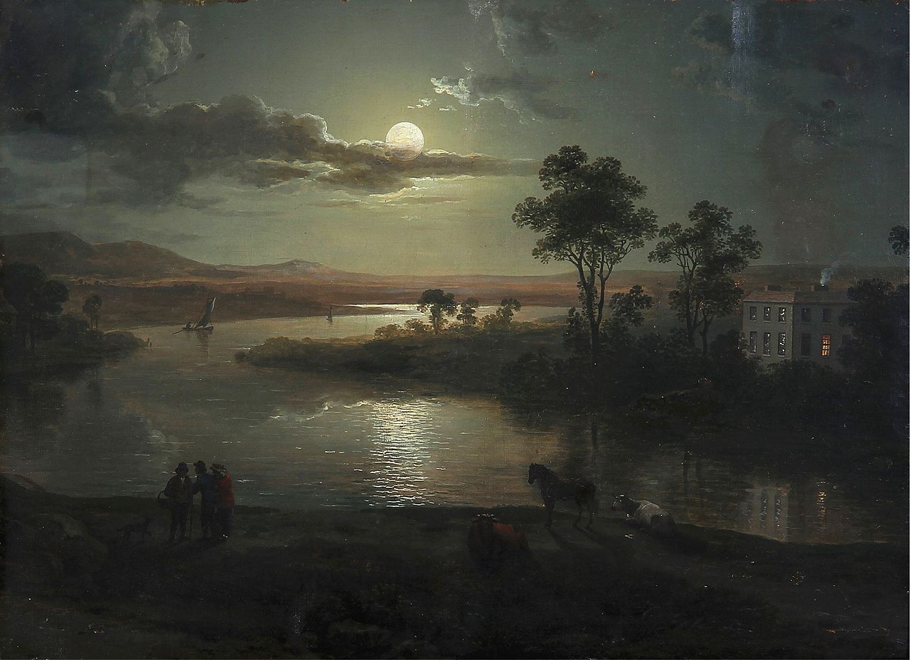 This image has an empty alt attribute; its file name is 1280px-Abraham_Pether_-_Evening_scene_with_full_moon_and_persons_%281801%29.jpg