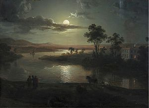 Abraham Pether - Abraham Pether - Evening scene with full moon and persons (1801)