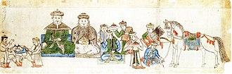 Mongolian wrestling - 16th century painting of Mongol wrestlers.