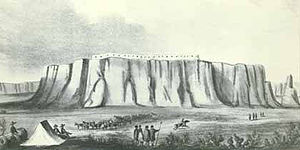 Acoma Massacre - A lithograph of Acoma Pueblo made in 1848.