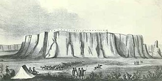 Acoma Massacre - A lithograph of Acoma Pueblo made in 1848.