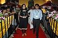 Actors Ms. Samvritha Sunil and Vineeth Sai Kumar on the Red Carpet arriving at 'INOX' for the movie (Kaalchilambu), at the 41st International Film Festival of India (IFFI-2010), at Panaji, Goa on November 25, 2010.jpg
