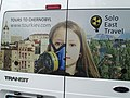 Ad for Chernobyl Tour on Rear of Solo East Travel Bus - Primary School at Kopachi Village - Chernobyl Exclusion Zone - Northern Ukraine (26825564310).jpg