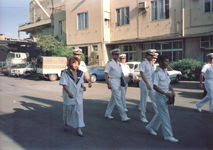 Gilla Gerzon - Gerzon escorting U.S. Navy officers on a visit to Haifa, led by Chief of Naval Operations Jeremy Michael Boorda (to right, holding hat)