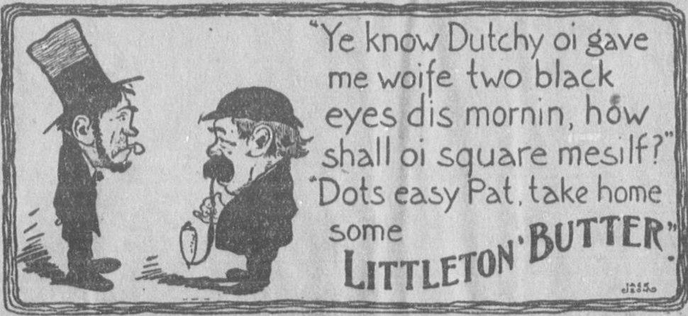 Advertisement for Littleton Butter (31 December 1903)