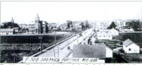 Aerial view of Portage Avenue, Sault Sainte Marie, Michigan, showing a streetcar.png