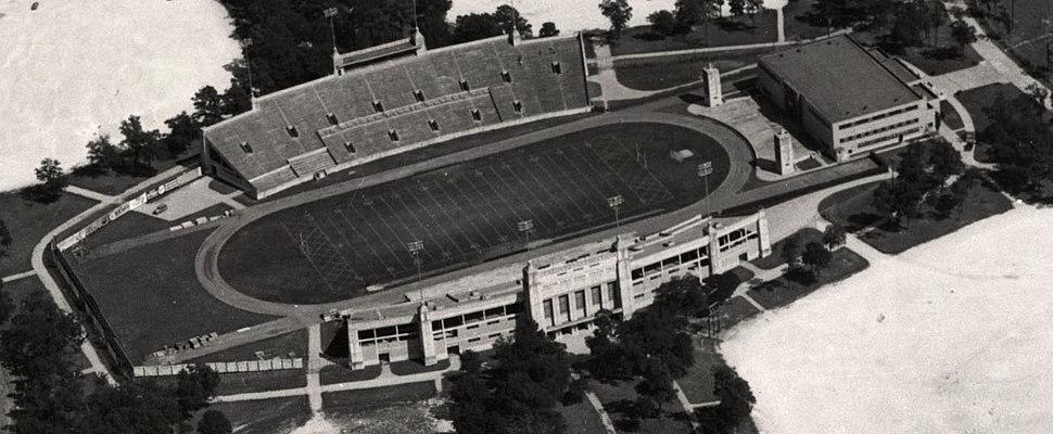 Aerial view of Robertson Stadium, 1950