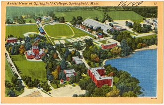 Springfield College (Massachusetts) - Historic postcard: Aerial view of Springfield College