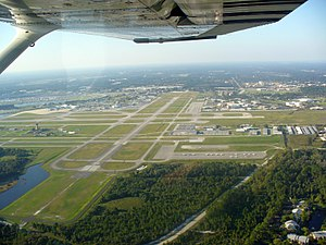 Daytona Beach International Airport - Aerial view of runway 34, November 3, 2007. The speedway can be seen on the left.