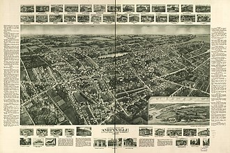 Amityville, New York - Panoramic map of Amityville from 1925 with list of landmarks and images of several inset