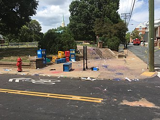 Unite the Right rally - The edge of Emancipation Park after police cleared the area