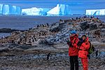 Afternoon landing (-5) on Gourdin Island just of the N tip of the Antarctic Peninsula - more Aselie Penguins (Pygoscelis adeliae) nesting with young - (25372208283).jpg