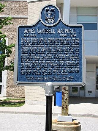Agnes Macphail - Image: Agnes Macphail plaque