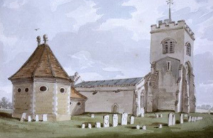 """Ailesbury Mausoleum - The Ailesbury Mausoleum, early 19th century watercolour, showing the original arrangement before being """"Gothicised"""" in 1859"""