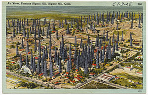Long Beach Oil Field - Signal Hill view in the 1930s, postcard