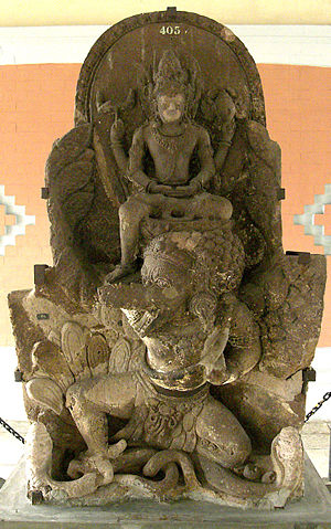 Kahuripan - King Airlangga depicted as Vishnu mounting Garuda, found in Belahan temple.