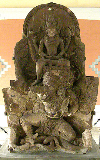 National emblem of Indonesia - Statue of King Airlangga depicted as Vishnu mounting Garuda.