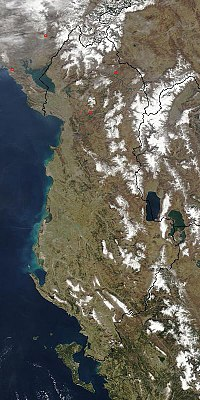 Satellite image of Albania.
