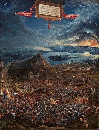 The Battle of Alexander at Issus - Image: Albrecht Altdorfer Schlacht bei Issus (Alte Pinakothek, München)