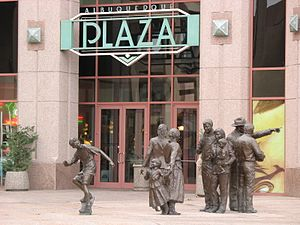 "Albuquerque Plaza - The building entrance and the ""Sidewalk Society"" sculpture"